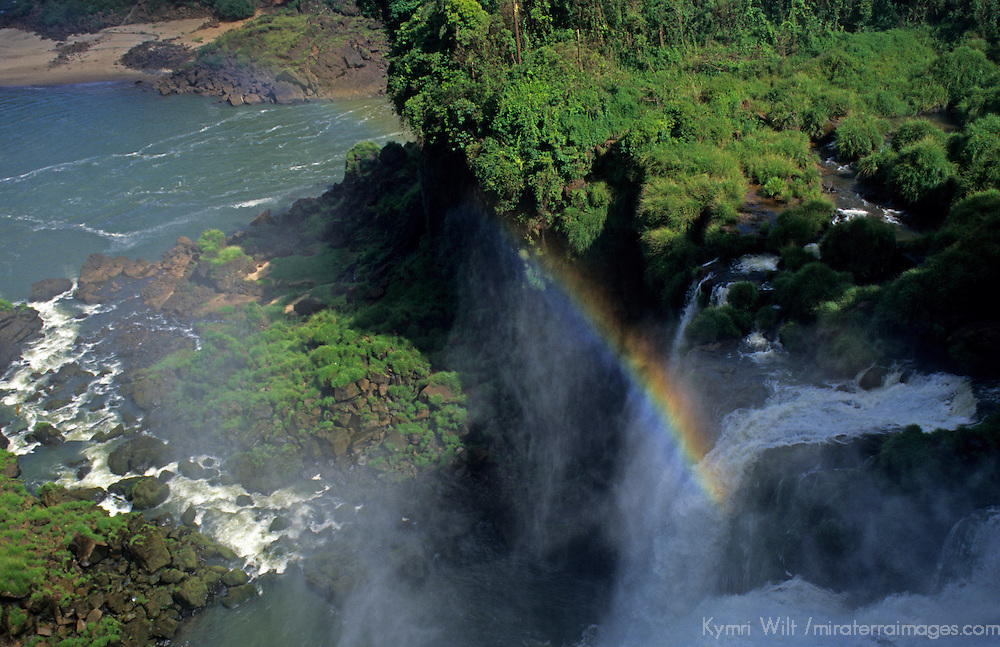 South America, Argentina, Brazil, Iguacu. Rainbow at Iguacu Falls.