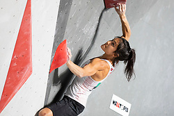 Alannah Yip of Canada during Women's bouldering semifinal at the IFSC Climbing World Championships Innsbruck 2018, on September 14, 2018 in OlympiaWorld Innsbruck, Austria, Slovenia. Photo by Urban Urbanc / Sportida