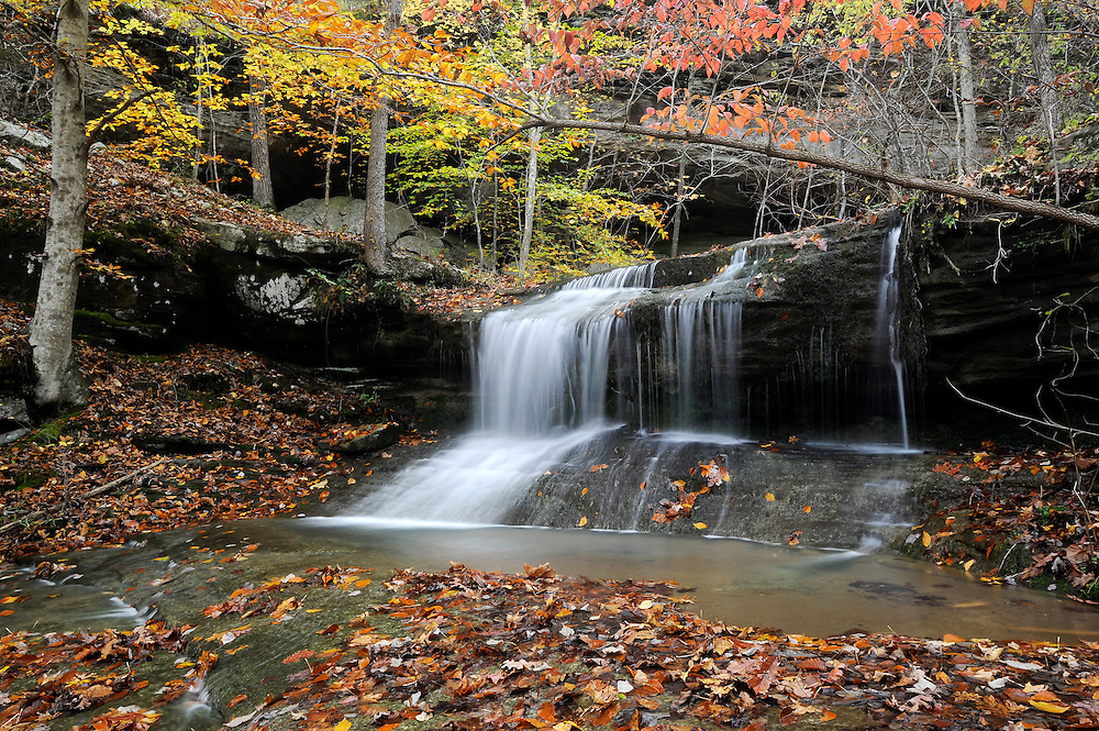 Bear Cave Hollow waterfall and fall color, Buffalo National River, Arkansas.