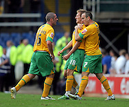 Cardiff - Saturday August 23rd, 2008: Arturo Lupoli of Norwich City celebrates scoring with teammates Mark Fotheringham (L) and Lee Croft (R) during the Coca Cola Championship match at The Ninian Park, Cardiff. (Pic by Paul Hollands/Focus Images)