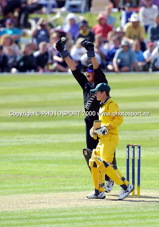 CRICINFO WOMANS WORLD CUP CRICKET IN CHRISTCHURCH, NEW ZEALAND 2000.<br /> FINAL: NEW ZEALAND VS AUSTRALIA<br /> REBECCA ROLLS CELEBRATES THE CATCH SHE MADE BEHIND TO WIN THE GAME AND WORLD CUP.<br /> PIC: PHOTOSPORT