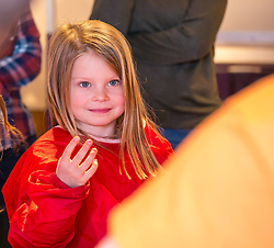 City Arts Centre, Edinburgh, Scotland, United Kingdom, 9 April 2019. Edinburgh Science Festival:  Evie, age 6 years, has fun learning about blood at the Blood Bar drop in event at the Science Festival. <br /> <br /> Sally Anderson | EdinburghElitemedia.co.uk