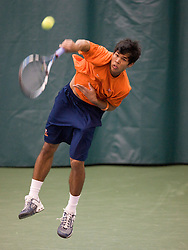 #1 nationally ranked Somdev Devvarman (Virginia) serves during the #1 doubles match.  The #1 nationally ranked men's doubles team of Somdev Devvarman and Trent Huey defeated #33 ranked Alex Cojanu/Keziel Juneau 8-6.    The #1 ranked Virginia Cavaliers men's tennis team faced the #43 ranked William and Mary Tribeat the Boyd Tinsley Courts at the Boars Head Inn in Charlottesville, VA on January 20, 2008.