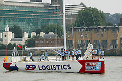 © Licensed to London News Pictures. 23/08/2013. Clipper Race vessel passing Greenwich en route to St Catherine's Dock in preparation for the start of the round the world Clipper Race credit : Rob Powell/LNP