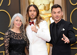 (L-R) Constance Leto, Jared Leto, Shannon Leto  arriving to the 2014 Oscars at the Hollywood and Highland Center in Hollywood, California, USA,  Sunday, 2nd March 2014. Picture by Hollywood Bubbles / i-Images<br /> UK ONLY