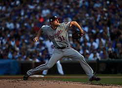 October 9, 2017 - Chicago, IL, USA - Washington Nationals starting pitcher Max Scherzer (31) delivers to the Chicago Cubs in the fourth inning Monday, Oct. 9, 2017 in Game 3 of a National League Division Series playoff at Wrigley Field in Chicago. (Credit Image: © Brian Cassella/TNS via ZUMA Wire)