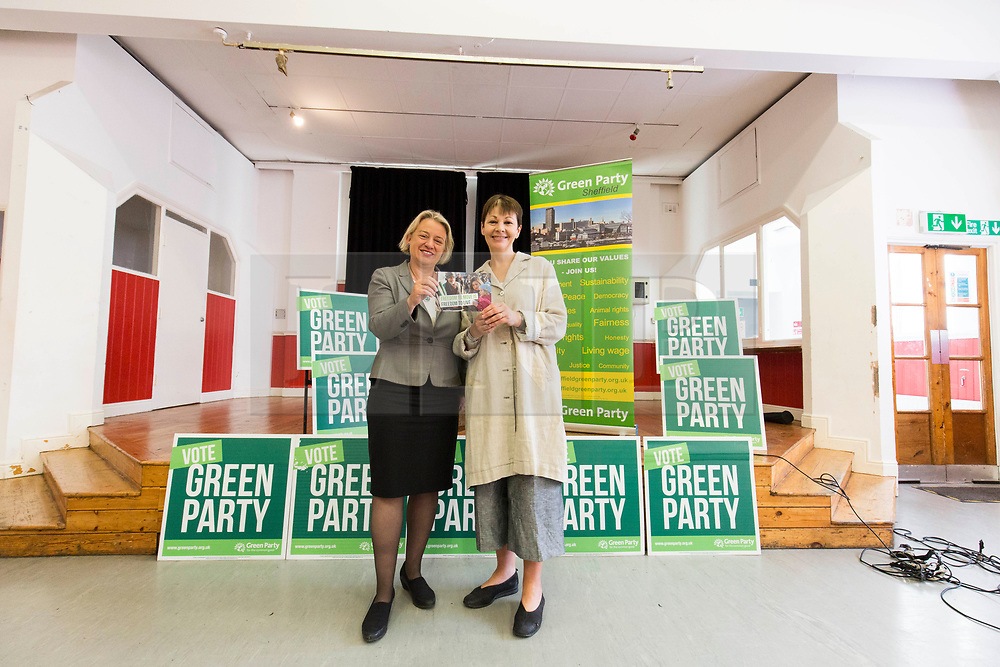 © Licensed to London News Pictures. 2/6/2017 SHEFFIELD   , UK.  <br /> The Green Party at the  Broomhall Centre in Sheffield today (Friday 2nd June 2017) for their general election campaign. The party's co-leader Caroline Lucas (right) and former leader, Natalie Bennett spoke defending migrants' contribution to Britain and pledge their support for continued free movement within Europe. Caroline Lucas spoke yesterday to condemn Donald Trump's decision to pull out of the Paris climate agreement.<br />   <br /> Photo credit: CHRIS BULL/LNP