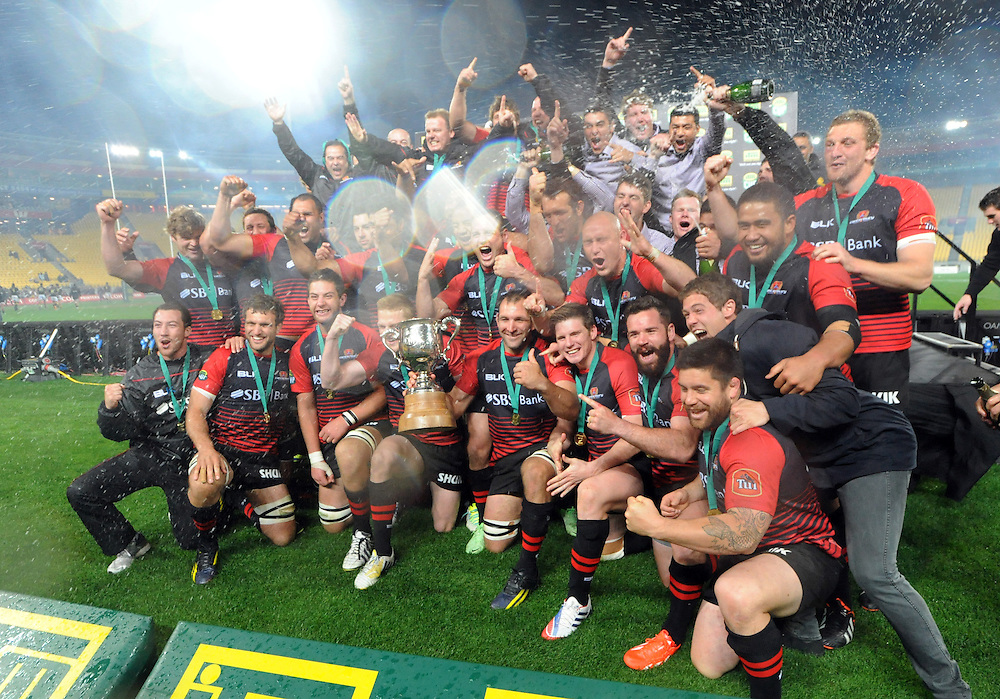 Canterbury celebrate their win over Wellington in the ITM Cup Rugby Premiership Final at Westpac Stadium, Wellington, New Zealand, Saturday, October 26, 2013. Credit:SNPA / Ross Setford