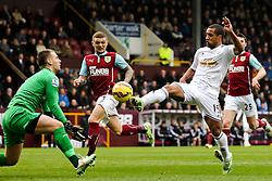 Wayne Routledge of Swansea City has a shot saved by Burnley Goalkeeper Tom Heaton   - Photo mandatory by-line: Matt McNulty/JMP - Mobile: 07966 386802 - 28/02/2015 - SPORT - Football - Burnley - Turf Moor - Burnley v Swansea City - Barclays Premier League