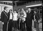 24/02/1979.02/24/1979. 24th February 1979. The Lord Mayor of Cork, Cllr Brian Sloane at Dublin Airport to welcome home the group of 15 walkers who set off from Cork on December 29th. They participated in a 54 day walk to Rome in aid of charity. Pictured are Fergus Dynan, Mrs Anne Skally, Drew Skally, leader of the group, Finbar Crowley, Anne Harrison, Michael Fingleton, Chairman, Concern, and Miss Angie Murphy.