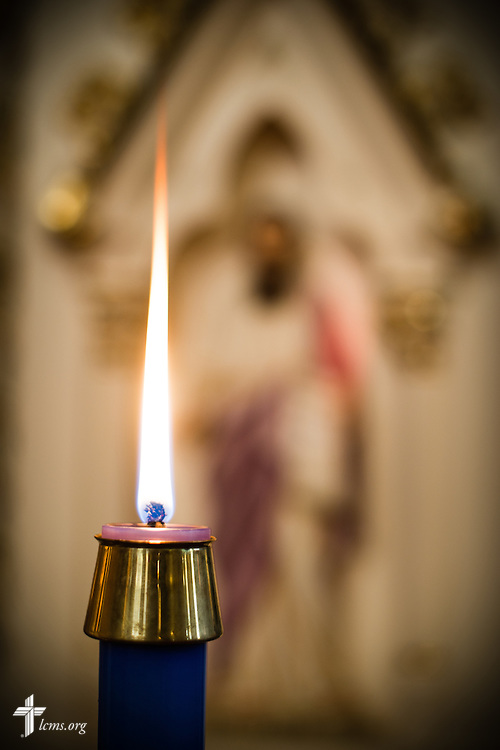 An Advent candle on Wednesday, Dec. 9, 2015, at Trinity Lutheran Church in Soulard, a part of St. Louis. LCMS Communications/Erik M. Lunsford
