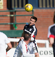 Dundee&rsquo;s Cammy Kerr leaps above Kilmarnock&rsquo;s Kris Boyd to win the ball - Dundee v Kilmarnock in the Ladbrokes Scottish Premiership at Dens Park, Dundee. Photo: David Young<br /> <br />  - &copy; David Young - www.davidyoungphoto.co.uk - email: davidyoungphoto@gmail.com