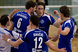 Tomaz Paravan, Adam Kaminski, Darijo Savicic, Simo Dabovic and Jernej Potocnik of Salonit celebrate at final match of Slovenian National Volleyball Championships between ACH Volley Bled and Salonit Anhovo, on April 24, 2010, in Radovljica, Slovenia. ACH Volley defeated Salonit 3rd time in 3 Rounds and became Slovenian National Champion.  (Photo by Vid Ponikvar / Sportida)