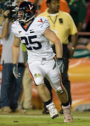 Virginia running back Josh Zidenberg (25)..The #19 Virginia Cavaliers defeated the Miami Hurricanes 48-0 at the Orange Bowl in Miami, Florida on November 10, 2007.  The game was the final game played in the Orange Bowl.