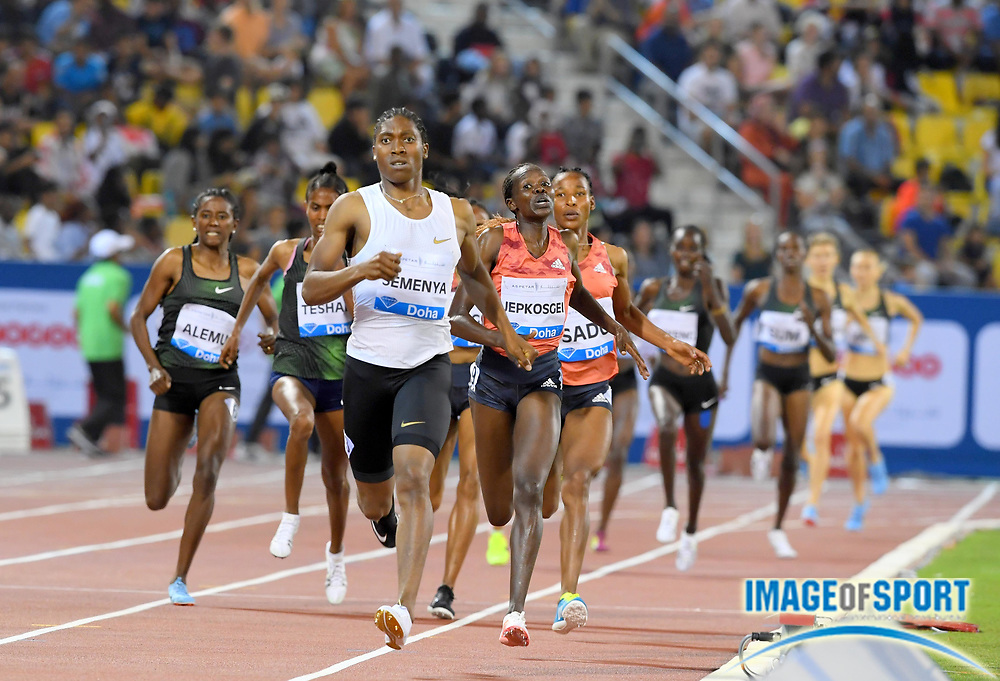 Caster Semenya (RSA) wins the women's 1,500m in 3:59.92 in the 2018 IAAF Doha Diamond League meeting at Suhaim Bin Hamad Stadium in Doha, Qatar, Friday, May 4, 2018. (Jiro Mochizuki/Image of Sport)