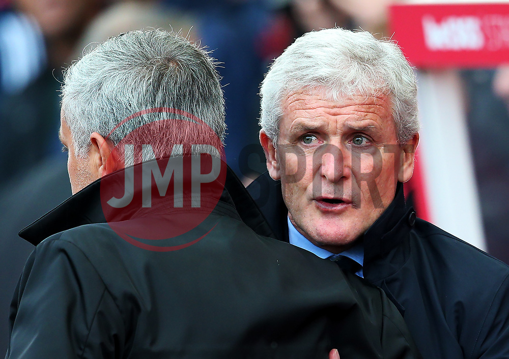 Stoke City manager Mark Hughes and Manchester United manager Jose Mourinho - Mandatory by-line: Matt McNulty/JMP - 09/09/2017 - FOOTBALL - Bet365 Stadium - Stoke-on-Trent, England - Stoke City v Manchester United - Premier League