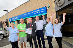 Pictured is, from left, Lynn McGuire, Simon Forrest, deputy director of outreach at Scunthorpe branch of The Samaritans, Lincolnshire Co-operative president Steve Hughes, Lincolnshire Co-operative superintendent pharmacist Alastair Farquhar, Angie Smith and Jasmine Mellin.<br /> <br /> Celebration event to mark the opening of the new Lincolnshire Co-operative Westcliffe Pharmacy in Scunthorpe.<br /> <br /> Picture: Chris Vaughan Photography for Lincolnshire Co-operative<br /> Date: August 3, 2018