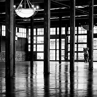 Black and white photo of the Cotton Mill, McKinney, TX.