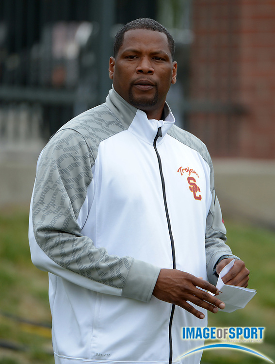 May 18, 2014; Pullman, WA, USA; Southern California Trojans assistant coach Quincy Watts at the 2014 Pac-12 Championships at the Mooberry Track & Field Complex.