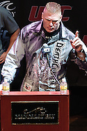 LAS VEGAS, NEVADA, JULY 9, 2009: Brock Lesnar is pictured during the pre-fight press conference for UFC 100 inside the House of Blues in Las Vegas, Nevada