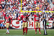 San Francisco 49ers strong safety Antoine Bethea (41) reacts to a penalty call by referee Terry McAulay (77) at Levis Stadium in Santa Clara, Calif., on October 2, 2016. (Stan Olszewski/Special to S.F. Examiner)