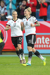 12.04.2016, Osnatel Arena, Osnabrueck, GER, UEFA Euro Qualifikation, Frauen, Deutschland vs Kroatien, im Bild Torjubel ueber das Tor zum 2:0 durch Anja Mittag (#11, Deutschland) mit Isabell Kerchowski (#17, Deutschland) // during the UEFA Womens Euro Qualification Match between Germany and Croatia at the Osnatel Arena in Osnabrueck, Germany on 2016/04/12. EXPA Pictures © 2016, PhotoCredit: EXPA/ Eibner-Pressefoto/ Deutzmann<br /> <br /> *****ATTENTION - OUT of GER*****