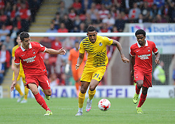 Cristian Montano of Bristol Rovers is challenged by Lloyd James of Leyton Orient and Bradley Pritchard of Leyton Orient - Mandatory byline: Neil Brookman/JMP - 07966386802 - 29/08/2015 - FOOTBALL - Matchroom Stadium -Leyton,England - Leyton Orient v Bristol Rovers - Sky Bet League Two