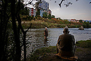 Along the banks of the Ibar River in the divided city of Mitrovica, Kosovo.