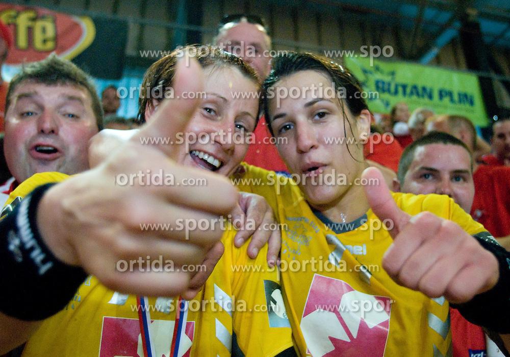 Tanja Oder and Andrea Lekic celebrate at the Final handball game of the Slovenian Women handball Championship between RK Krim Mercator and RK Olimpija when Krim Mercator won the Championship and became Slovenian National Champion, on May 23, 2009, Kodeljevo, Ljubljana, Slovenia.  (Photo by Klemen Kek / Sportida)