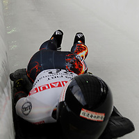 27 February 2007:  Eiko Nakayama of Japan finishes her 3rd run at the Women's Skeleton World Championships competition on February 27 at the Olympic Sports Complex in Lake Placid, NY.