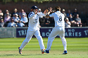 Wicket - Liam Dawson of Hampshire celebratest aking the wicket of Dean Elgar of Somerset with George Bailey of Hampshire who took the catch during the Specsavers County Champ Div 1 match between Somerset County Cricket Club and Hampshire County Cricket Club at the Cooper Associates County Ground, Taunton, United Kingdom on 26 May 2017. Photo by Graham Hunt.