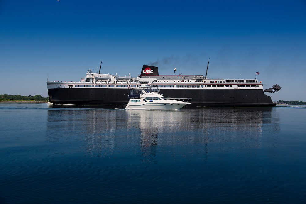 The SS Badger ferry heads in to Manitowoc, Wisconsin on it's 60 mile trip across Lake Michigan from Ludington, Michigan.  Photo by Mike Roemer