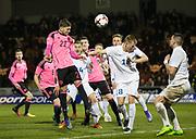 Scotland's Dominic Thomas heads goalwards - Scotland under 21s v Estonia international challenge match at St Mirren Park, St Mirren. Pic David Young<br />  <br /> - © David Young - www.davidyoungphoto.co.uk - email: davidyoungphoto@gmail.com
