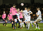 Scotland's Dominic Thomas heads goalwards - Scotland under 21s v Estonia international challenge match at St Mirren Park, St Mirren. Pic David Young<br />  <br /> - &copy; David Young - www.davidyoungphoto.co.uk - email: davidyoungphoto@gmail.com