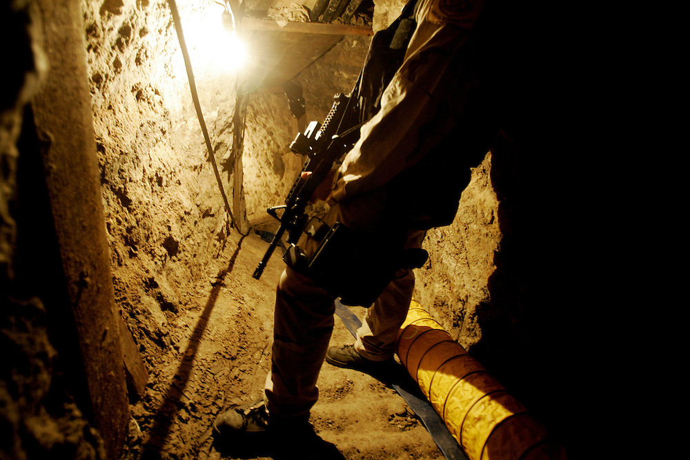 View drug tunnel found along the U.S.Mexico Border in January 2006.  The drug tunnel is the longest ever discovered measuring at 2400 feet and was used to smuggle drugs into the United States.