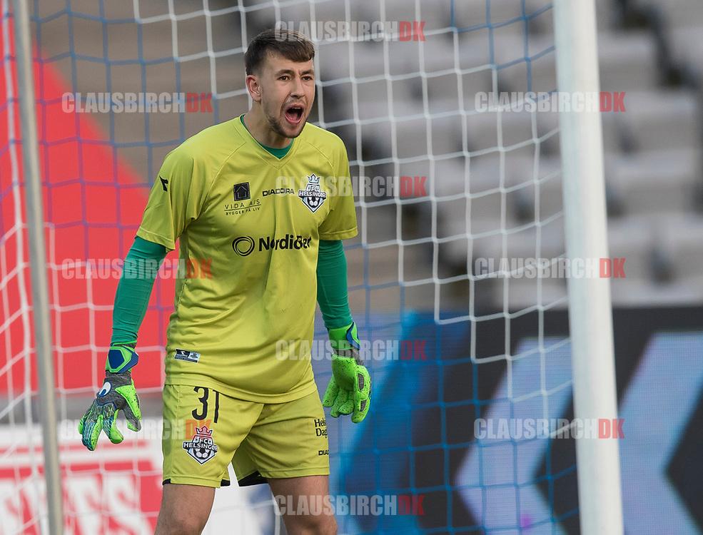 FODBOLD: Adrian Kappenberger (FC Helsingør) under kampen i ALKA Superligaen mellem AGF og FC Helsingør den 13. april 2018 i Ceres Park. Foto: Claus Birch.