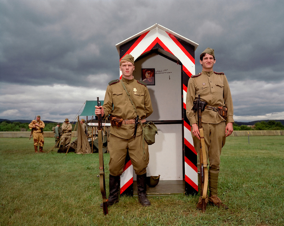 Soviet Checkpoint, Reading, PA, 2006.Nick Gamache, 22, of Lancaster, Pennsylvania and Chris Goshey, 22, of Shippensburg, Pennsylvania man the Soviet checkpoint during a World War Two encampment at the Reading World War II airshow.  ..Photo by Susana Raab.Gamache can be reached at 717-284-2111 email: nmgammac@maurader.millersvile.edu.Goshey can be reached at 484-252-1077 ; cg8856@ship.edu