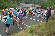 Kerhonkson, New York - Runners take a photograph at the Peterskill parking area at Minnewaska State Park Preserve before competing in the Shawangunk Ridge Trail Run/Hike 20-mile race on Sept. 20, 2014.