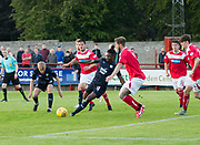 Dundee&rsquo;s Jean Alassane Mendy is crowed out as he tries to get in a shot - Brechin City v Dundee pre-season friendly at Glebe Park, Brechin, <br /> <br /> <br />  - &copy; David Young - www.davidyoungphoto.co.uk - email: davidyoungphoto@gmail.com