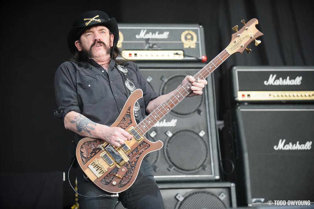 Motörhead, performing at Mayhem Fest 2012 at Verizon Wireless Amphitheater in St. Louis, Missouri on July 20, 2012.