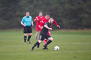 Cannon Fodder (black) v Charlies Accies (red) in the Dundee Saturday Morning Football League at University Grounds, Riverside, Dundee, <br /> <br />  - © David Young - www.davidyoungphoto.co.uk - email: davidyoungphoto@gmail.com