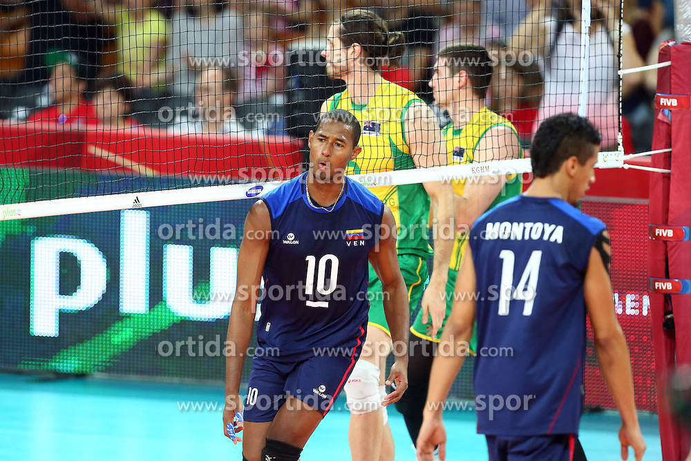 07.09.2014, Jahrhunderthalle, Breslau, POL, FIVB WM, Australien vs Venezuela, Gruppe A, im Bild KEVIN PINERUA RADOSC JOY // during the FIVB Volleyball Men's World Championships Pool A Match beween Australia and Venezuela at the Jahrhunderthalle in Breslau, Poland on 2014/09/07. EXPA Pictures &copy; 2014, PhotoCredit: EXPA/ Newspix/ Jakub Piasecki<br /> <br /> *****ATTENTION - for AUT, SLO, CRO, SRB, BIH, MAZ, TUR, SUI, SWE only*****