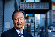 San Francisco Public Defender Jeff Adachi outside the Henry Hotel on 6th Street.
