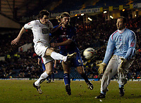 Photo: Jed Wee.<br /> Leeds United v Crystal Palace. Coca Cola Championship. 21/03/2006.<br /> <br /> Leeds' Jonathan Douglas (L) breaks through to fire a shot on goal.