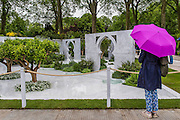 The Al Brari, Beauty of Islam Garden by Kamelia Bin Zaal . RHS Chelsea Flower Show, Chelsea Hospital, London UK, 18 May 2015.