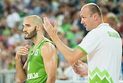 Boban Tomic of Slovenia and Jure Zdovc, head coach of Slovenia during friendly basketball match between National teams of Slovenia and Australia, on August 4, 2015 in Arena Stozice, Ljubljana, Slovenia. Photo by Vid Ponikvar / Sportida