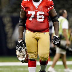 August 12, 2011; New Orleans, LA, USA; San Francisco 49ers offensive tackle Anthony Davis (76) walks off the field following a preseason game against the New Orleans Saints at the Louisiana Superdome. The New Orleans Saints defeated the San Francisco 49ers Mandatory Credit: Derick E. Hingle