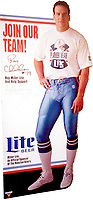 celebrity portrait for Miller Beer life-size POP featuring Houston Oiler's football player, Ray Childers.