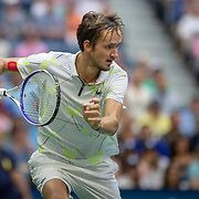 2019 US Open Tennis Tournament- Day Fourteen.  Danill Medvedev of Russia in action during his match against Rafael Nadal of Spain in the Men's Singles Final on Arthur Ashe Stadium during the 2019 US Open Tennis Tournament at the USTA Billie Jean King National Tennis Center on September 8th, 2019 in Flushing, Queens, New York City.  (Photo by Tim Clayton/Corbis via Getty Images)