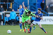 Forest Green Rovers Kaiyne Woolery(14) is pulled back during the FA Trophy match between Macclesfield Town and Forest Green Rovers at Moss Rose, Macclesfield, United Kingdom on 4 February 2017. Photo by Shane Healey.